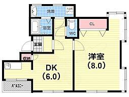 ティーズコート 3階1DKの間取り
