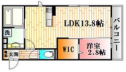 カーサあき亀山 A棟 1階1LDKの間取り