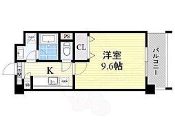 阪急千里線 北千里駅 バス9分 小野原東五丁目下車 徒歩3分の賃貸マンション 4階ワンルームの間取り