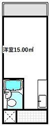 大阪モノレール本線 大日駅 徒歩2分の賃貸マンション 4階ワンルームの間取り