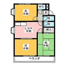 ファミリーマンション鈴[2階]の間取り