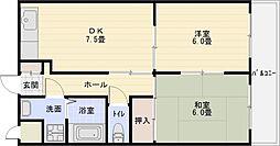 OMレジデンス柏原2[2階]の間取り
