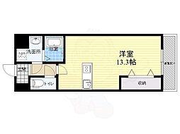 仮称西大寺南マンション 6階ワンルームの間取り