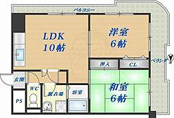 ロイヤルハイツ高井田 3階2LDKの間取り