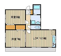コーポオオヤマ[1階]の間取り