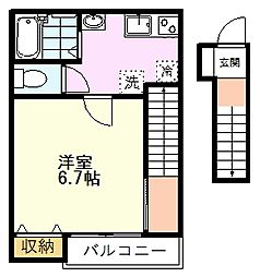JR中央線 国立駅 徒歩12分の賃貸アパート 2階1Kの間取り