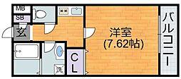 JR関西本線 平野駅 徒歩7分の賃貸アパート 2階1Kの間取り