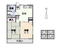 森尻コーポ 東棟[2-A号室]の間取り