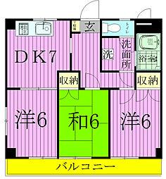千葉県松戸市根本の賃貸マンションの間取り