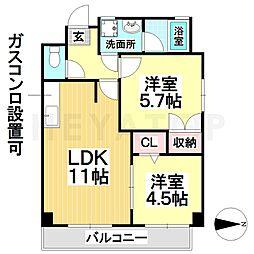 愛知県名古屋市瑞穂区土市町1丁目の賃貸マンションの間取り