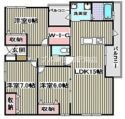 エスターレ津島[1階]の間取り