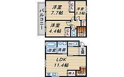 [テラスハウス] 大阪府豊中市中桜塚2丁目 の賃貸【/】の間取り