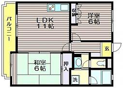 東京都世田谷区北烏山9の賃貸マンションの間取り