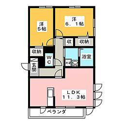コンフォール湘南B 3階2LDKの間取り