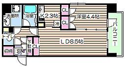 天満橋ケルスコート[7階]の間取り