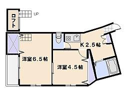 広島県廿日市市山陽園の賃貸アパートの間取り