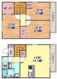 [タウンハウス] 兵庫県神戸市東灘区本山北町1丁目 の賃貸【/】の間取り