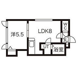 北海道札幌市中央区南8条西9丁目の賃貸アパートの間取り