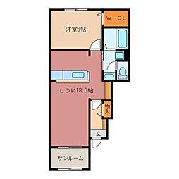 三重県鈴鹿市道伯町の賃貸アパートの間取り