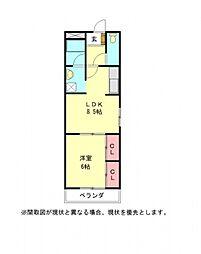 愛知県岩倉市石仏町長北屋敷の賃貸アパートの間取り