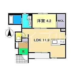 (仮)一宮中町1丁目新築アパート 1階1LDKの間取り