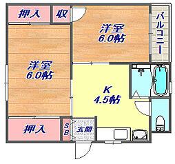 兵庫県神戸市灘区篠原北町1丁目の賃貸マンションの間取り