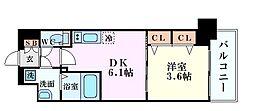 Osaka Metro堺筋線 天神橋筋六丁目駅 徒歩7分の賃貸マンション 5階1DKの間取り