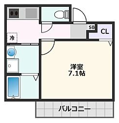 モレス・ヴィラ吹田 4階1Kの間取り
