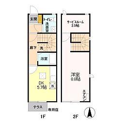 [タウンハウス] 東京都あきる野市下代継 の賃貸【/】の間取り