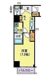 JR山手線 田町駅 徒歩8分の賃貸マンション 9階1Kの間取り
