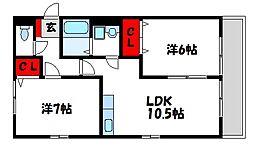 レトア千鳥A棟[2階]の間取り