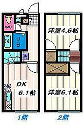 埼玉県さいたま市見沼区東新井の賃貸アパートの間取り