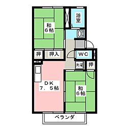 カーディナル辰巳 A棟[1階]の間取り