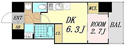 セレニテ桜川駅前プリエ 3階1DKの間取り