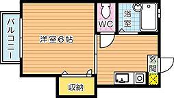 福岡県北九州市八幡西区幸神3丁目の賃貸アパートの間取り