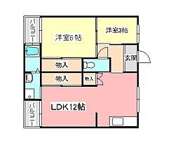 ヴィレッジハウス加賀田[2階]の間取り
