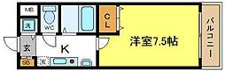 メゾンソレイユ 3階1Kの間取り