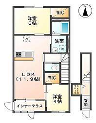 袖ケ浦市代宿88番6他新築アパート[201号室]の間取り