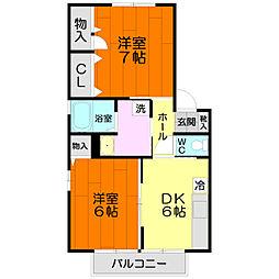 グランドメゾン大澤[A202号室]の間取り
