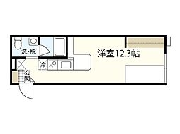 JR山陽本線 横川駅 徒歩18分の賃貸アパート 2階ワンルームの間取り