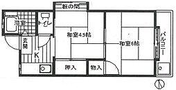 東京都板橋区蓮根2の賃貸アパートの間取り