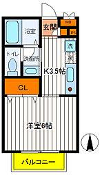 東京都立川市富士見町1丁目の賃貸アパートの間取り