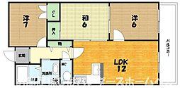 大阪府枚方市渚南町の賃貸マンションの間取り