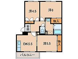 和歌山県岩出市西国分の賃貸マンションの間取り