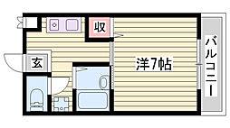 JR東海道・山陽本線 東加古川駅 徒歩8分の賃貸マンション 3階1Kの間取り