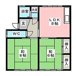 メゾンドキムラB[2階]の間取り