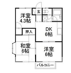 コーポ松岡 E[2階]の間取り