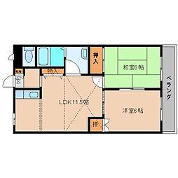 奈良県五條市下之町の賃貸マンションの間取り