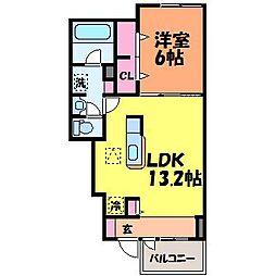 愛媛県松山市竹原4丁目の賃貸アパートの間取り
