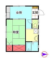 菅沼アパート[102号室]の間取り